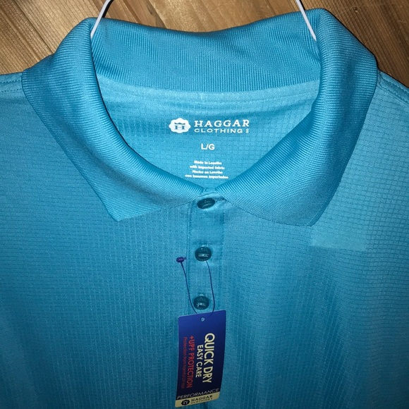 Haggar Quick Dry Easy Care UPF Protection Performance Short Sleeve Polo Shirt